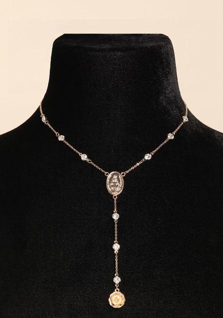 Gold Rhinestone & Rose Drop Necklace