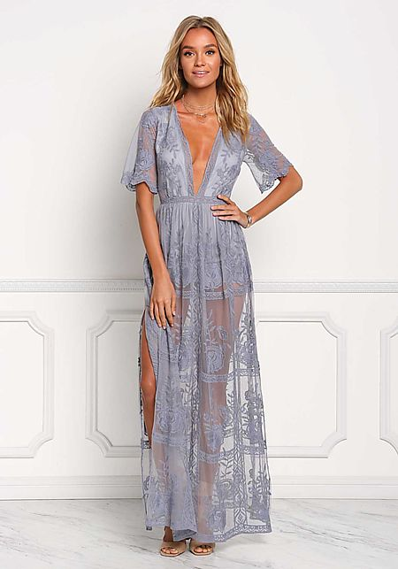 Dusty Blue Lace Plunge Slit Maxi Dress