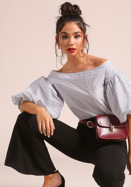 White and Black Puff Sleeve Off Shoulder Blouse