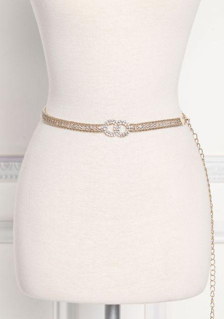 Gold Rhinestone Thin Chain Belt
