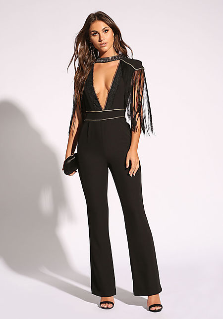 Black Shoulder Fringe Plunge Choker Jumpsuit