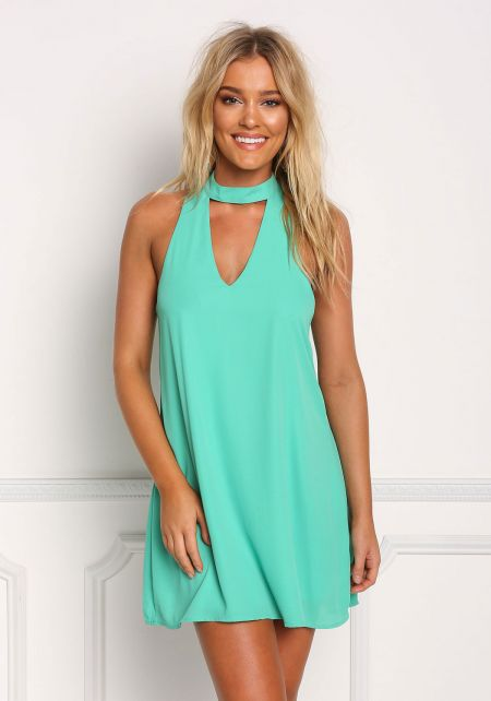 Mint Cut Out Choker Shift Dress