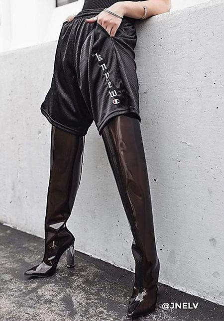 Cape Robbin Black Perspex Thigh High Boots