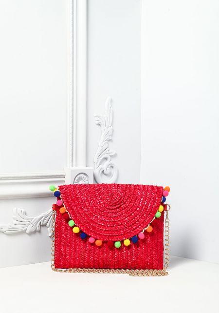 Red Pom Pom Straw Crossbody Bag
