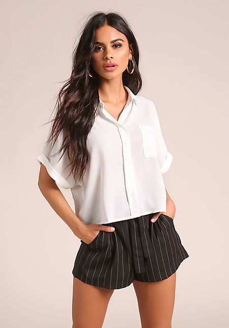 White Collared Boxy Blouse