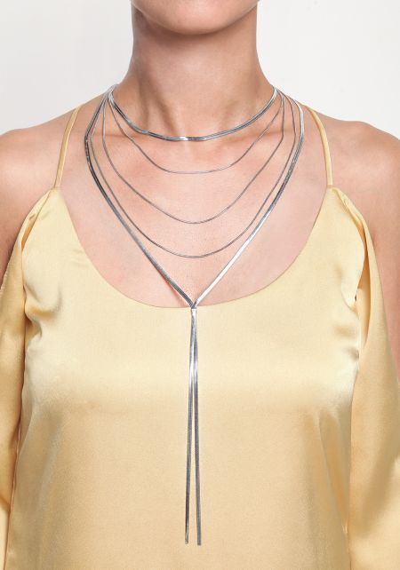 Silver Flat Chain Drop Layered Necklace