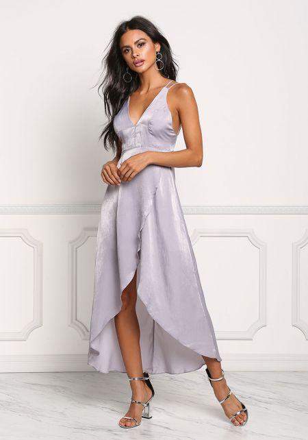 Lavender Silky Hi-Lo Surplice Midi Dress