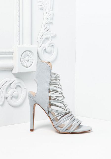 Light Grey Suedette Multi Strap Heels