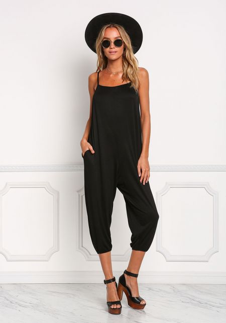 Black Jersey Knit Harem Jumpsuit