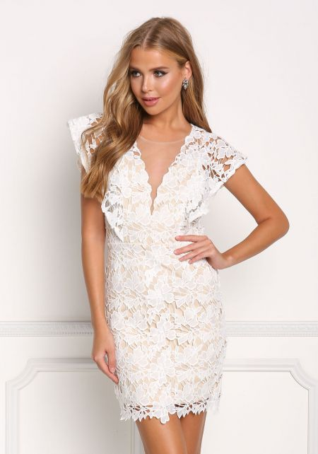 Ivory Floral Applique Tulle Plunge Dress