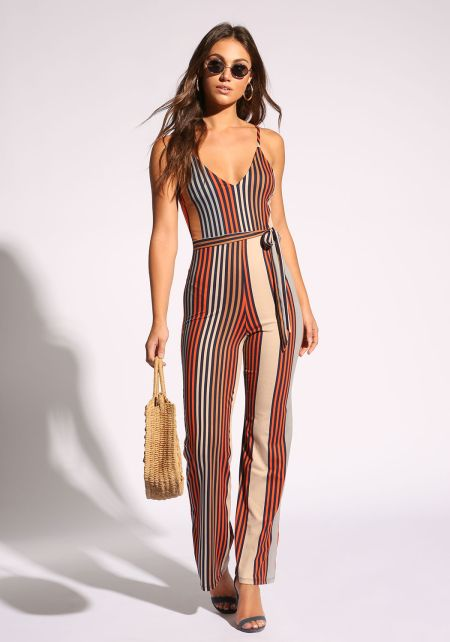 Multi Stripe Waist Tie Jumpsuit