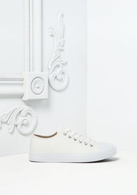 White Leatherette Lace Up Sneakers