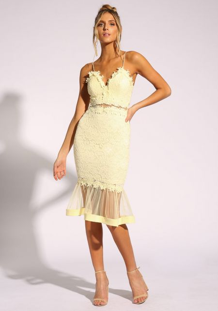 Yellow Lace Tulle Mermaid Bodycon Dress
