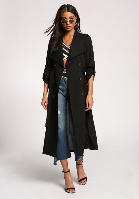 Black Double Breasted Waist Tie Longlined Trench Coat