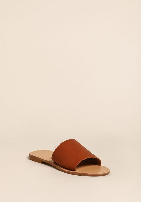 Chestnut Leatherette Slip On Sandals