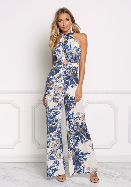 Blue Floral Back Cut Out Jumpsuit