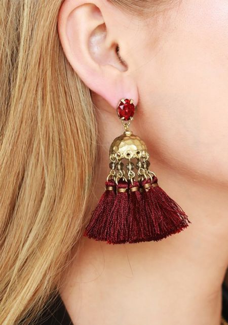 Burgundy Rhinestone Tassel Earrings