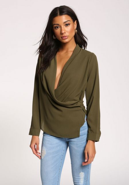 Olive Plunge Side Button Layered Blouse