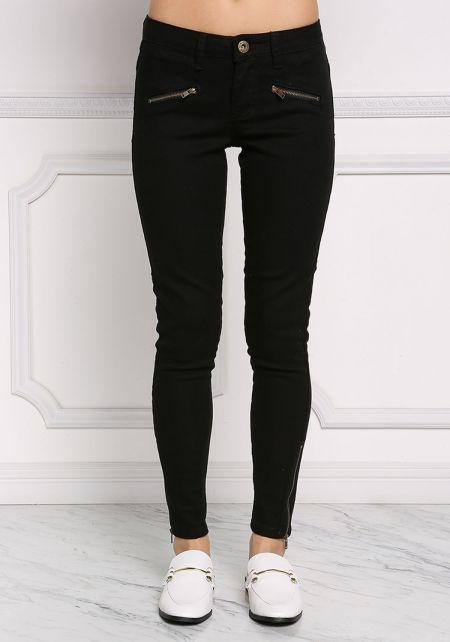 Black Side Zipper Trim Skinny Jeans