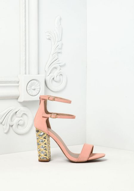 Blush Suedette Double Strap Plaque Heels