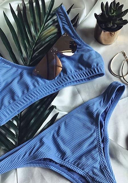 Dusty Blue Ribbed Knit Low Rise Swimsuit Bikini Bo