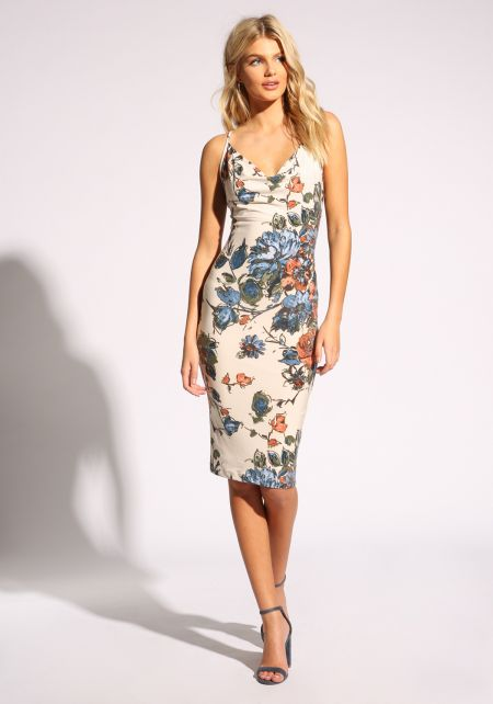 Ivory Floral Cross Strap Bodycon Dress