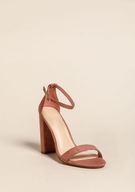 Mauve Ankle Strap Block Heels