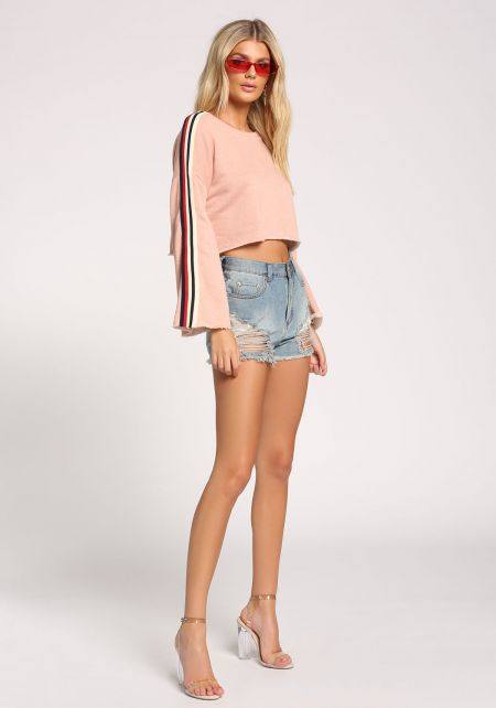 Blush Bell Sleeve Cropped Sweater Top