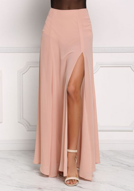 Blush High Rise Slit Maxi Skirt