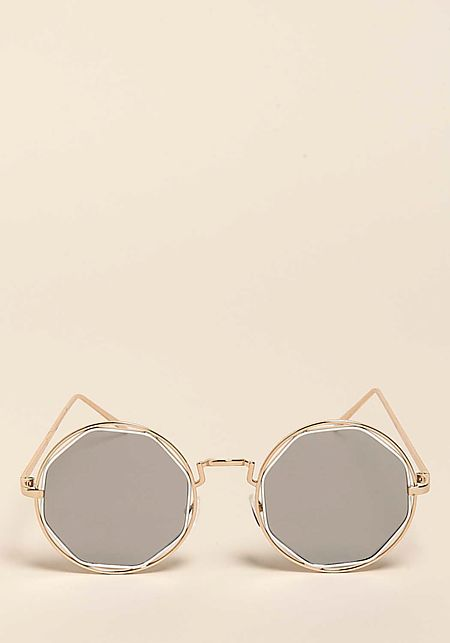 Silver Round Frame Sunglasses