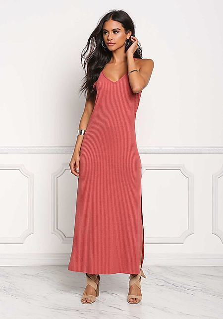 Brick Ribbed Knit Slit Maxi Dress