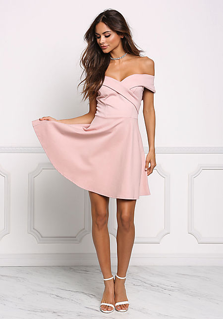 Blush Off Shoulder Flared Dress