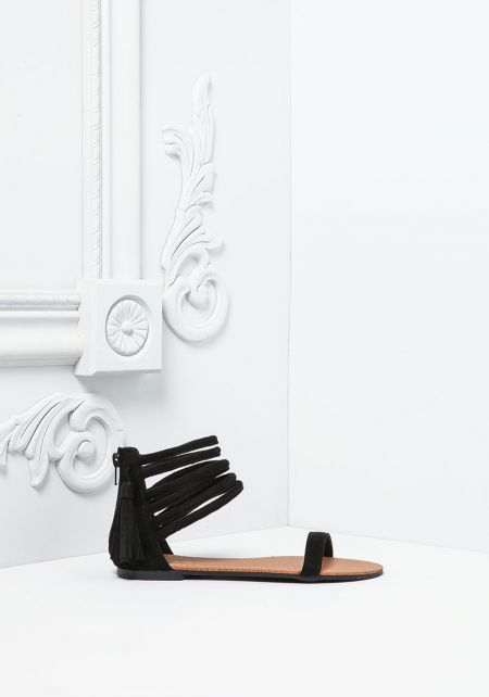 Black Suedette Multi Strap Sandals