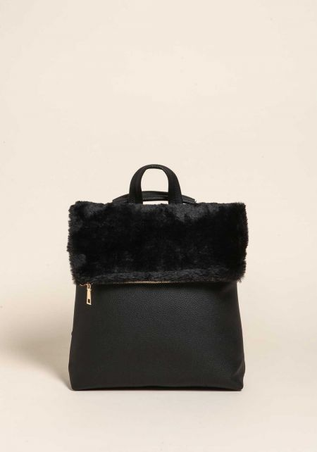 Black Faux Fur Leatherette Backpack