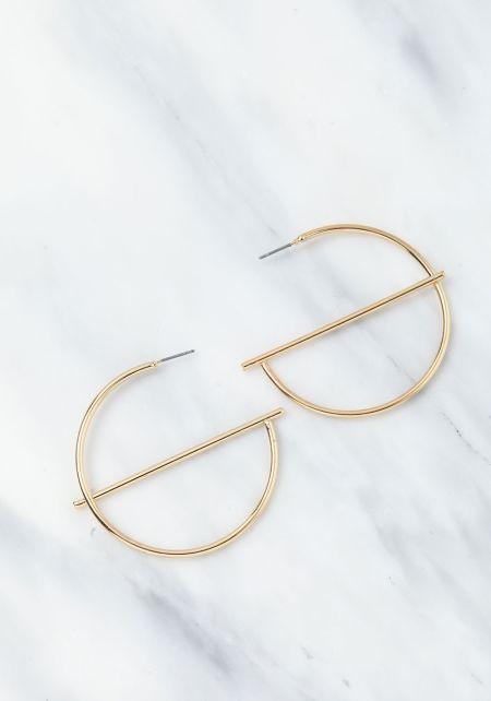 Gold Hoop Bar Earrings
