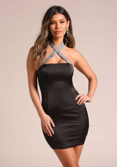 Black Rhinestone Cross Strap Satin Bodycon Dress