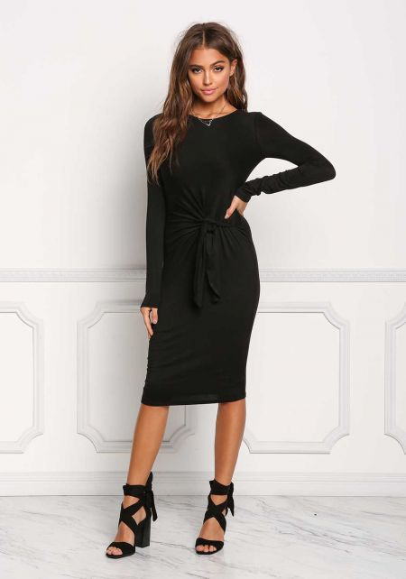 Black Tied Waist Jersey Knit Dress