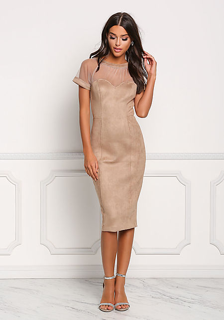 Mocha Suedette Tulle Sweetheart Bodycon Dress