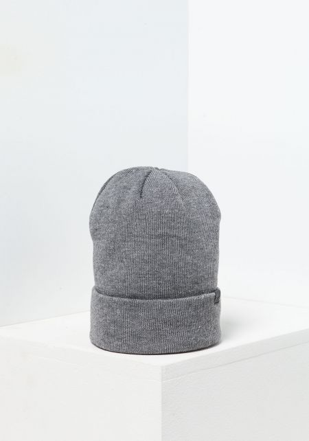 Grey Ribbed Knit Beanie
