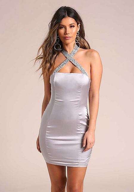 Silver Rhinestone Cross Strap Satin Bodycon Dress