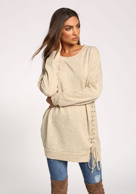 Oatmeal Side Lace Up Pullover Sweater Top