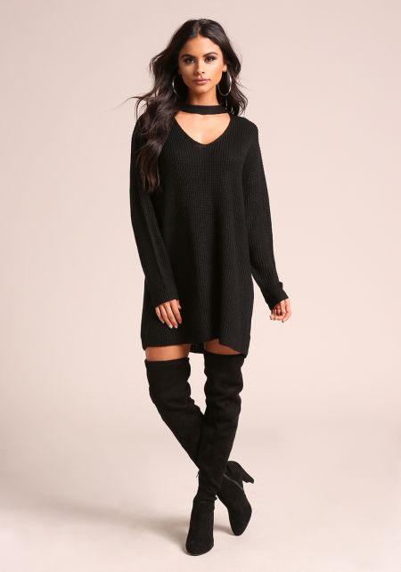 Black Choker Cut Out Thick Knit Tunic Sweater Top
