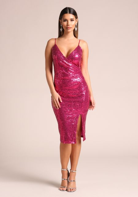 Magenta Sequin Side Slit Bodycon Dress