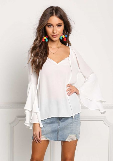 White Layered Bell Sleeve Blouse