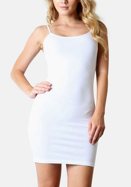 White Jersey Knit Longlined Cami Tank Top