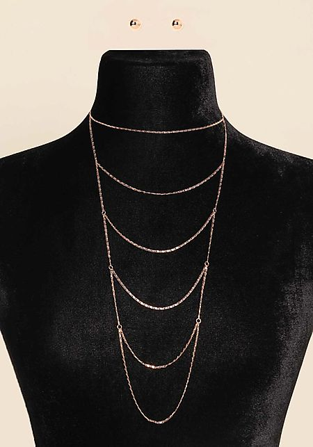 Rose Gold Draped Layered Necklace