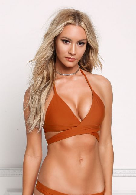 Dark Rust Halter Tie Swimsuit Bikini Top