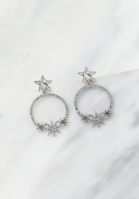 Silver Rhinestone Star Hoop Earrings