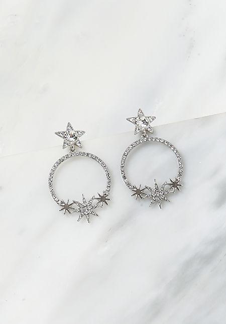 6fdc232a2 Silver Rhinestone Star Hoop Earrings