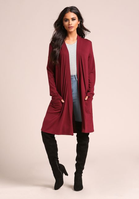 Burgundy Jersey Knit Longlined Pocket Cardigan